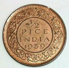 1939 B India British 1/2 Pice -Nice Condition Red Coin - FREE SHIP