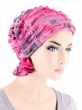 Abbey Cap ® Chemo Hat Cancer Beanie Scarf Ruffle Embroidered Pink Tie Dye