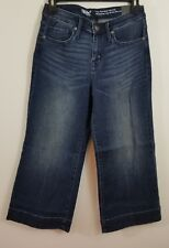 NEW Mossimo Womens High Rise Wide Leg Crop Blue Jeans 2/26 Regular Super Stretch