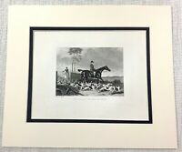 1843 Antique Fox Hunting Print Huntsman Horse Riding Dogs Hounds Old Engraving