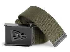 New Era Men's Over Sized Enamel Buckle Military-Style Web Belt Green Olive Drab