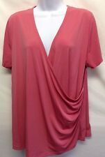 NWT Worthington Woman Top Stretch Deep Pink Drape Y Neck Short Sleeve Blouse 1X