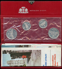 1973 HAITI 4-Coin Silver Proof Set Original Wallet Packaging, 25 & 50 Gourdes