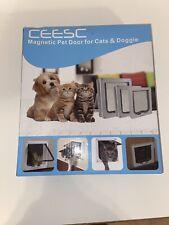 Ceesc Pet Flap Door Magnetic Pet Door w 4 Way Lock for Cats and Dogs - White Xl