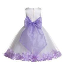 Wedding Pageant Floral Rose Petals Ivory Flower Girl Dress Tulle Princess Kids