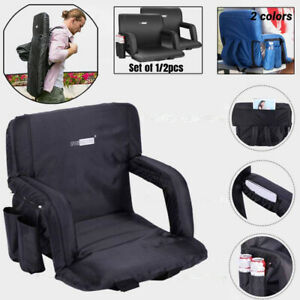 1/2 Folding Stadium Seat Chair Cushion Camping Reclining Bleacher Padded Back