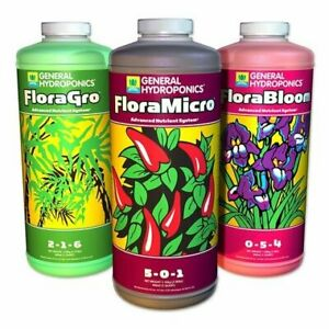 General Hydroponics Flora Series Qt FloraGro FloraBloom FloraMicro 32 oz / Quart