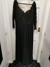 Dynasty long evening dress Black size 16 with long sleeves BNWT