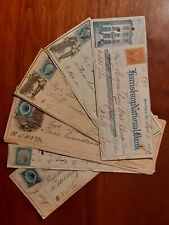 6 Checks with Revenue Stamps 1863 -1874 Harrisburg Pa Fink & Boyer Brewery