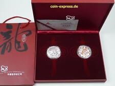 *** 2 x 10 yuans china 2012 año del dragón farbmünze color Dragon plata ***