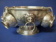 Ornate Repousse Silver Plate Footed LION PUNCH BOWL with Six Cups