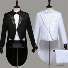 Hot Men Tailcoat Peak Lapel Suit and Trousers Formal Dress Wedding Tuxedo Casual