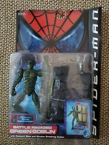 ToyBiz Spider-Man Movie Action Figure Battle Ravaged Green Goblin w/base, 2002