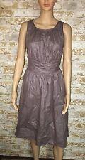 Adriana Papell Dress Purple Satin Look Empire Waist Tie Size 10
