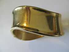 VINTAGE CHUCKY HEAVY SWIRL GOLD PLATED w/POLISH DESIGNS CLAMPER  BANGLE BRACELET