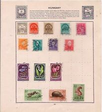 15 HUNGARY stamps on an album page.