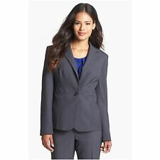 NWT $129 Jones New York Emma All Season Single Button Blazer  Jacket Charcoal 10