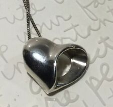 Opening Pendent Necklace 16� 7.8 Contemporary Glossy 925 Sterling Heart Side