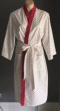 LAURA ASHLEY White & Burgundy Polka Dot Dressing Gown Bath Robe Size M/12