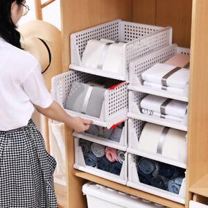 2Pcs Home Stackable Wardrobe Drawer Units Organizer Clothes Closet Storage Boxes