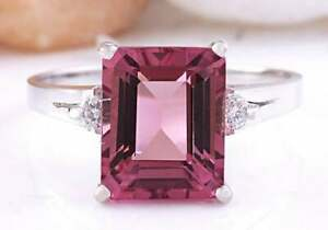 4Ct Emerald Cut Red Ruby Three Stone Engagement Ring 14K White Gold Finish