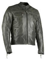 Men's Collarless Distressed Leather Biker Motorcycle Armoured Jacket