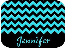 PERSONALIZED MOUSE PAD TEAL BLUE BLACK CHEVRON