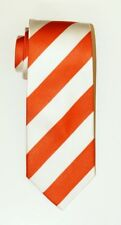 "ORANGE WHITE Striped Self Tipped Silk Tie 3.75"" Wide 57"" Long"