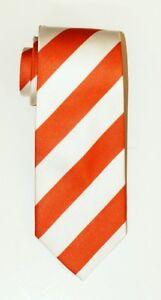 ORANGE WHITE Striped Self Tipped Silk Tie