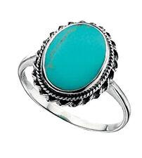Anillos de joyería con gemas turquesa de plata de ley