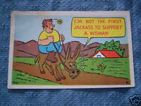VINTAGE JACKASS TO SUPPORT WOMAN POST CARD