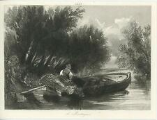 ANTIQUE ROW BOAT FISHERMAN BIG WOVEN BASKETS STREAM RIVER LEANING TREES PRINT
