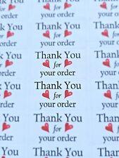325 x vous remercier de votre commande-Love Coeurs-Sticky Mat Blanc étiquettes