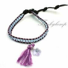Handmade Leather Wrap Bracelet Made with Purple Swarovski Flower Beads & Tassel