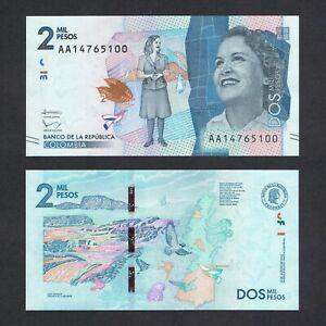2016 COLOMBIA 2,000 2000 PESOS P-458 UNC> > > > > >DEBORA ARANGO PEREZ AA PREFIX