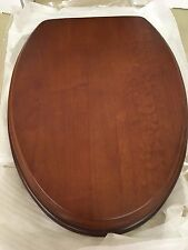 Porcher 71115-00.670 Elongated Wood Toilet Seat with BN Hinges, NATURAL CHERRY
