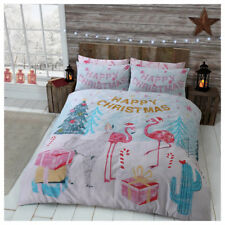 Flamingo Christmas Duvet Cover Set Single Double King Size Animal Printed New