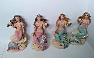 Pearl Maiden Ceramic Mermaid Figurines Set of 4 Shell Colours Designs 11cm x 6cm