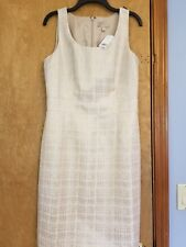 BANAANA REPUBLIC WHITE ROSE GOLD PLAID SLEEVELESS SHEATH DRESS NWT