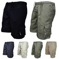 Men's Elastic Waist Shorts Combat Cargo Pants Drawstring Hiking Casual Trousers