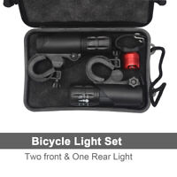 Two front zoom focus LED bike lights set for mountain road BMX bikes bicycles