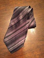 Stafford Silk Neck Tie Black Gray Striped Wide Necktie NWOT