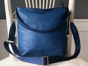 FOSSIL MAYA Marine Blue Leather Hobo Shoulder Crossbody Satchel Purse Bag $238