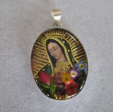 Mexican Silver Our Lady Guadalupe Real Miniature Colourful Flowers Rose Pendant