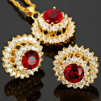 Brass Red Ruby Round Cut Necklace Pendant Earrings 18K Gold Plated Jewelry Set