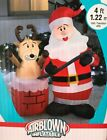 RARE NEW 4 FT TALL SANTA CLAUS WITH REINDEER IN CHIMNEY SCENE INFLATABLE GEMMY