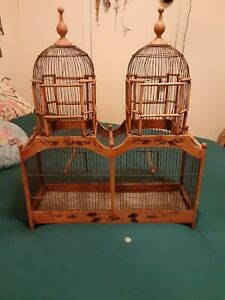 Vintage Mahogany Palace bird cage, Doubled Stacked