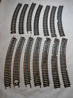 """HO TRAIN LOT OF 14 VINTAGE ATLAS 18"""" RADIUS CURVED BRASS TRACK LESS THAN PERFECT"""