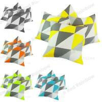 """Set of 4 Set of Geometric Design 18""""  Cushion Covers Grey + Colour Selected Geo"""
