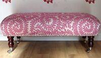 Footstool Stool In Laura Ashley Berkeley Scroll Berry Fabric